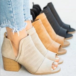 Shoes - 🔥SALE🔥Taupe Perforated Ankle Booties